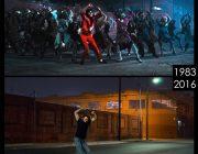 ハリウッド映画の撮影現場で同じポーズをして昔と比べる写真を撮ってる男が話題ww